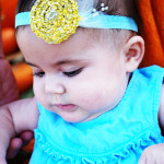 DIY: Baby yellow braided scarf headband goes to the Pumpkin Patch